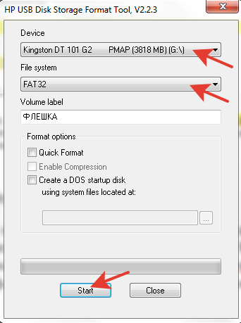 Форматируем при помощи HP USB Disk Storage FormatTool