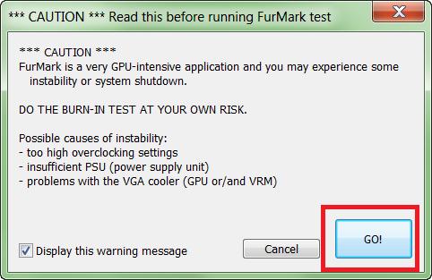 Предупреждение в Furmark