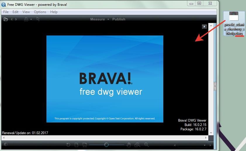 Перетаскиваем файл в Free DWG Viewer