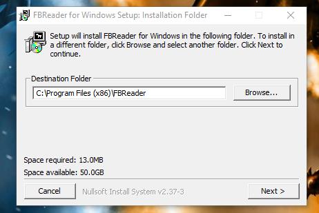Устанавливаем программу FBReader