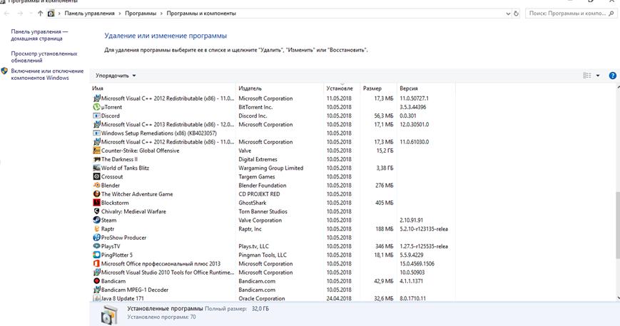 Окно Программы и компоненты