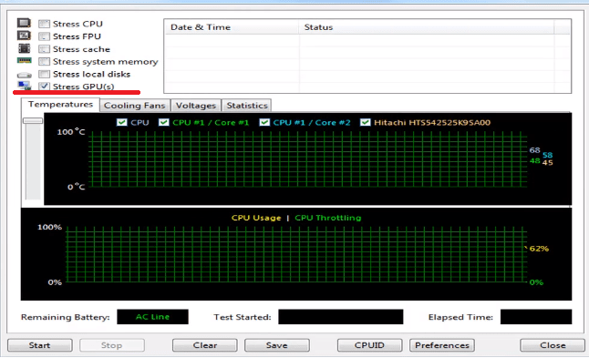 Stress GPUs в AIDA64