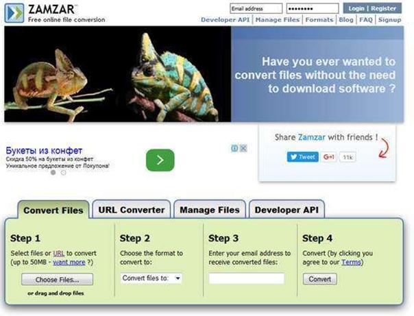 Сайт Zamzar